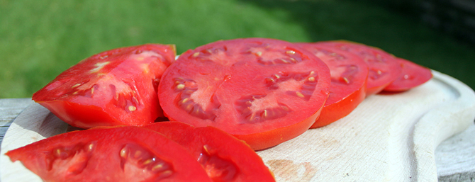 Beefsteak tomato, sliced and looking glorious!