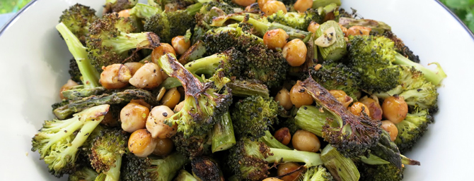 Roasted Black Pepper Broccoli with Chick Peas & Asparagus